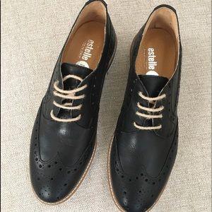 Shoes - Estelle Black Oxford Loafers w Twine Laces Euro 41
